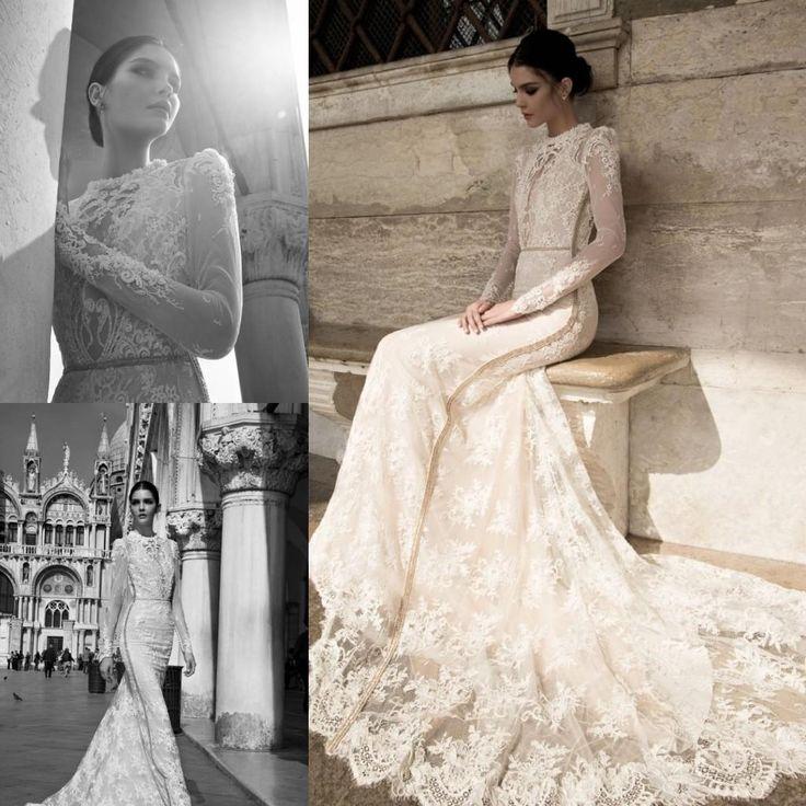 Inbal Dror 2015 Spring Lace Sheer Beach Wedding Dresses Summer High Collar Modest Long Sleeves Vintage High Neck Court Train Bridal Gowns