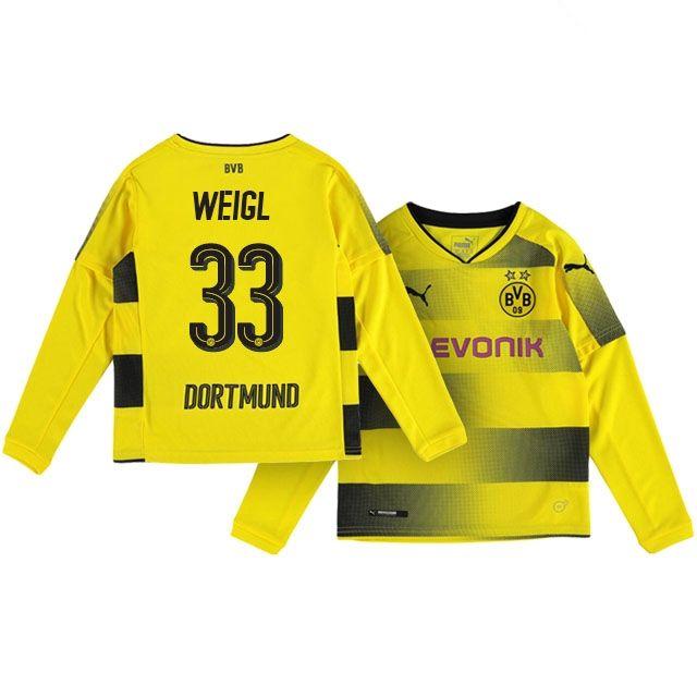 Kids Borussia Dortmund Home Kit 17-18 LS weigl