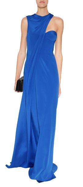 DESIGNER:J. MENDEL DETAILS HERE:Silk Cady Asymmetrical Gown in Royal Blue