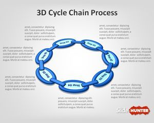 Free 3D Cycle Chain Process is a free PowerPoint template with ring and chain diagram for PowerPoint presentations that you can download to model complex cycle processes with chain styles