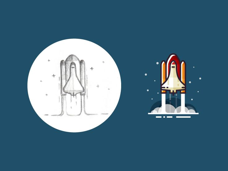 Rocket launch - from sketch to result by Infographic Paradise #Design Popular #Dribbble #shots