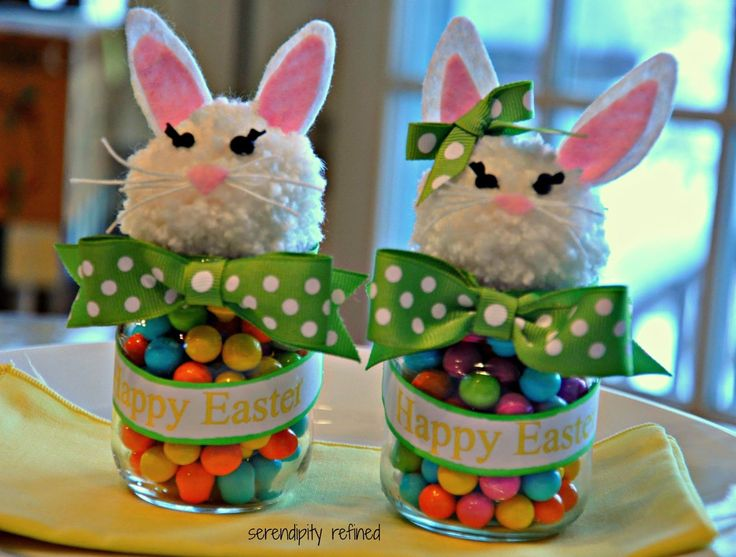 Serendipity Refined Blog: Upcycled Baby Food Jar Easter Bunny Candy Holder