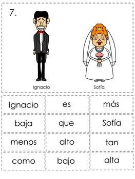 Comparisons Spanish Sentence Writing Station Activities