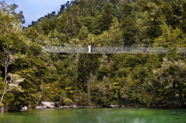 The great choice of locations including beaches, green forest, and rivers in the Abel Tasman National Park make this a wonderful place to get married.  New Zealand Wedding Packages can take you there on their yacht and provide a personal ceremony in the location of your choice.