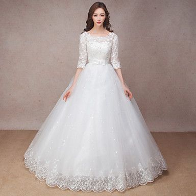 Princess+Wedding+Dress+Floor-length+Scoop+Lace+with+Bow+/+Flower+/+Ruffle+–+USD+$+69.99