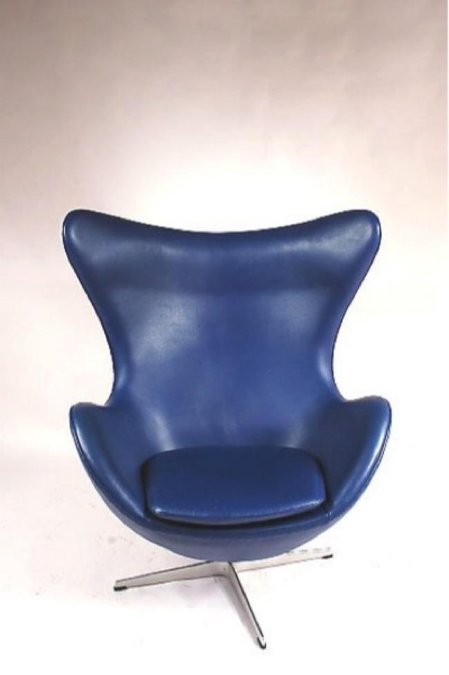 Blauer Dänischer Egg Stuhl von Arne Jacobsen für Fritz Hansen, 1950er 3