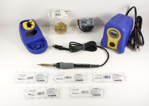Hakko FX888D-23BY Digital Soldering Station with Chisel Tip Pack T18-D08/D12/D24/D32/S3. Also includes 5 of the Most popular T18 series Chisel tips. Low temperature warning. Updated version of ever popular FX888 analog. Can preset your most popular temperatures. User selectable preset temperatures and digital calibration simplify user setup and operation, and the new password protection and low temperature alarm provides process control and helps protect against cold solder joints.