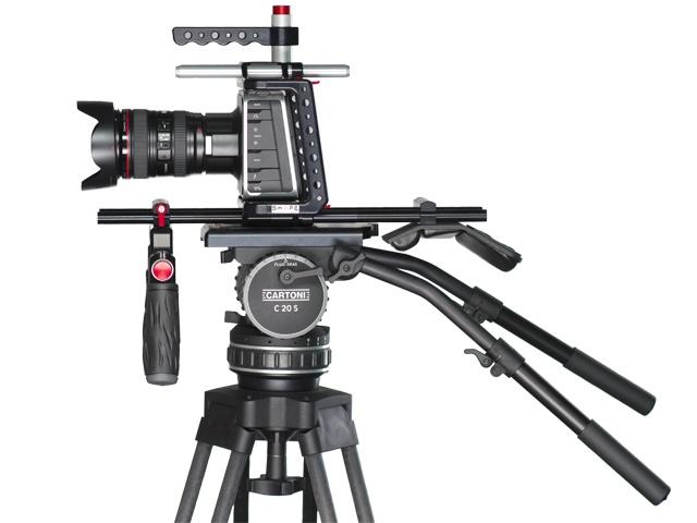 Blackmagic cinema camera shoulder mount on a Cartoni C20S tripod
