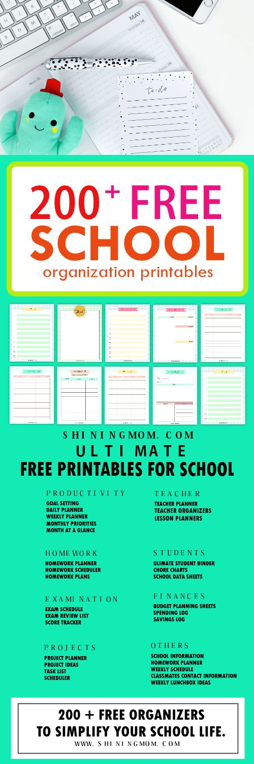 Bookmark this amazing collection of FREE student organization printables by Shining Mom blog! There are 200+ school planners to love!