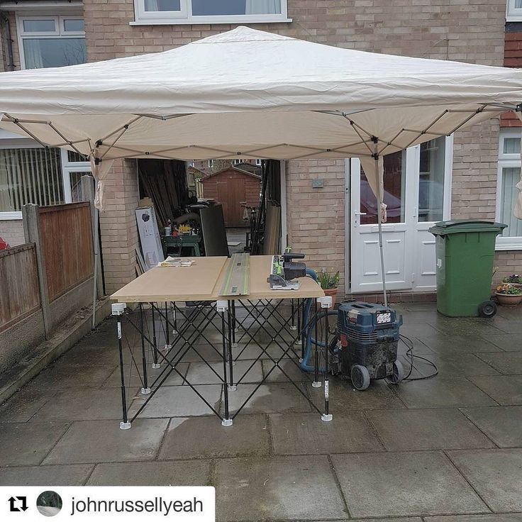 (#CentipedeSupport) + (#gazebo) = a #jobsite #woodshop for any weather! Repost via @johnrussellyeah:    Got this little gazebo today to keep out the rain. Paid for itself allready 🖒wouldn't have been able to process my 8x4 sheets today without that and the @centipedetool stand. #joinery #joiner #carpentry #carpenter #festool #ts55 #festoolts55 #bosch #boschprofessional #boschgas35 #gas35 #centipede  (@get_repost)  #CentipedeTool #portable #workshop #workbench #workspace #stand #sawhorse