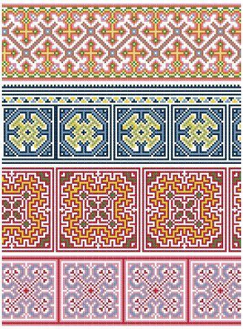 Modèle+de+Hmong+inspiré+Cross+Stitch+Border+par+blackphoebedesigns