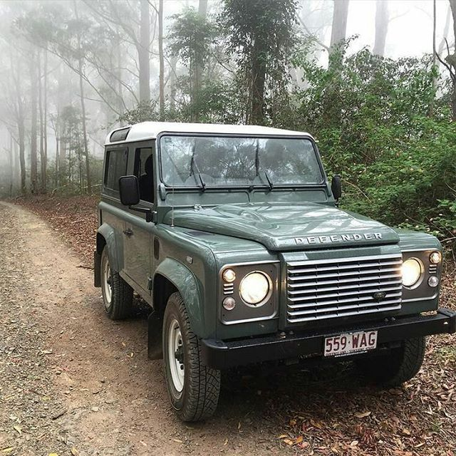 Land Rover Defender 90 td4 Sw traveling across the forest...nice for me.Lobezno