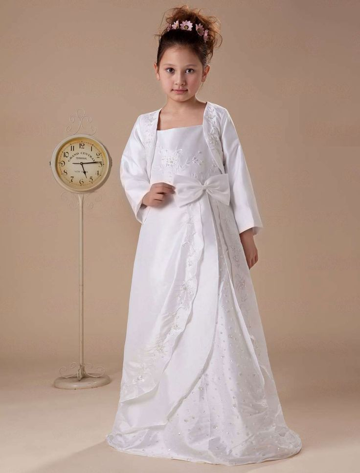 White Long Sleeves Embroidery Satin Flower Girl Dress - Party Dresses