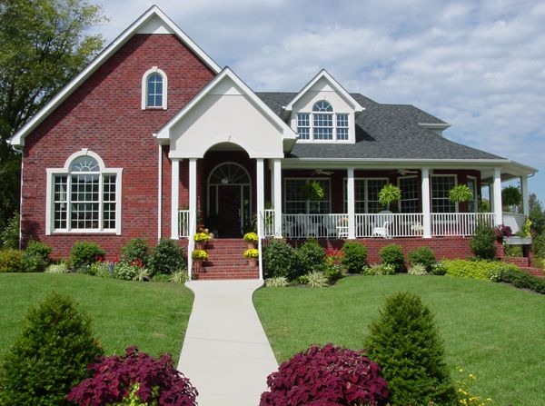Brick house with a porch wrap around porch house plans Brick home plans with wrap around porch