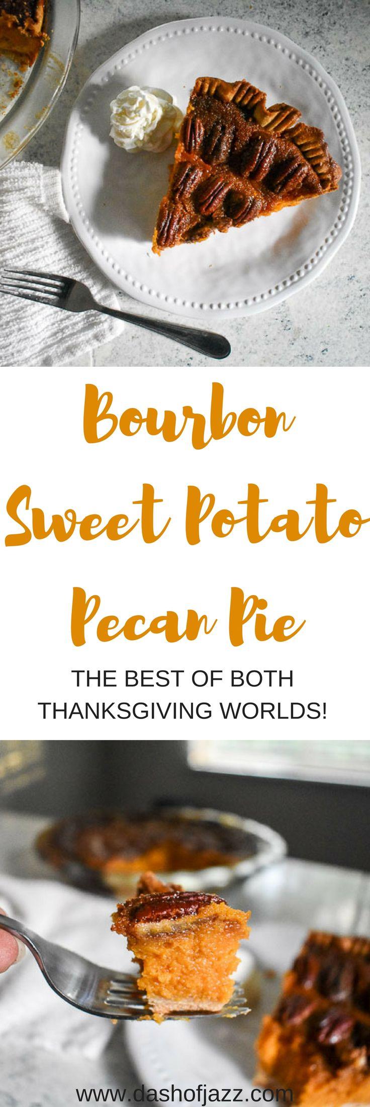 Bourbon Sweet Potato Pecan Pie is the best of both Thanksgiving dessert worlds! Recipe by Dash of Jazz