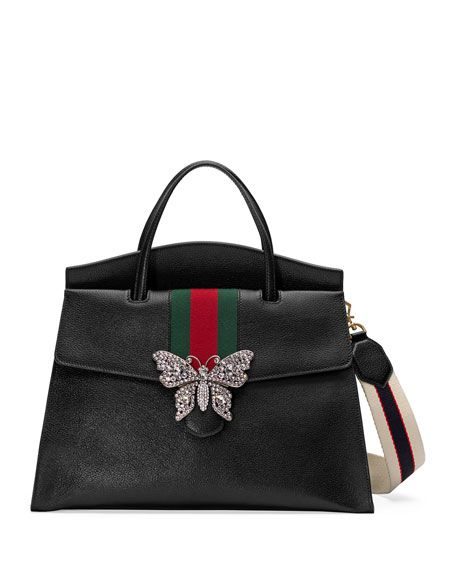 7f75f3f02b7 Linea Totem Large Leather Top-Handle Bag with Butterfly   Web Strap by  Gucci at Neiman Marcus