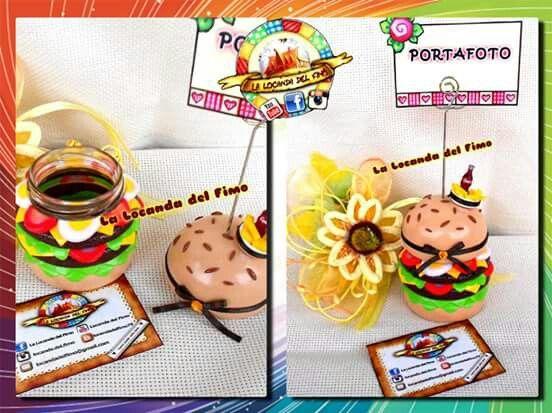 portafoto hamburger mc donald's, barattolo in vetro rivestito con decori in fimo