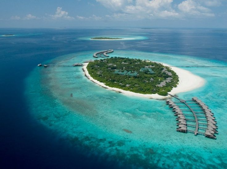 Getting there: Seaplane or speedboat  You have two fairly glamorous ways to reach this 35-acre resort on the northernmost atoll in the Maldives: Hop on a 75-minute seaplane flight from the capital of Male, or embark on a 45-minute speedboat ride from Hanimaadhoo Airport.