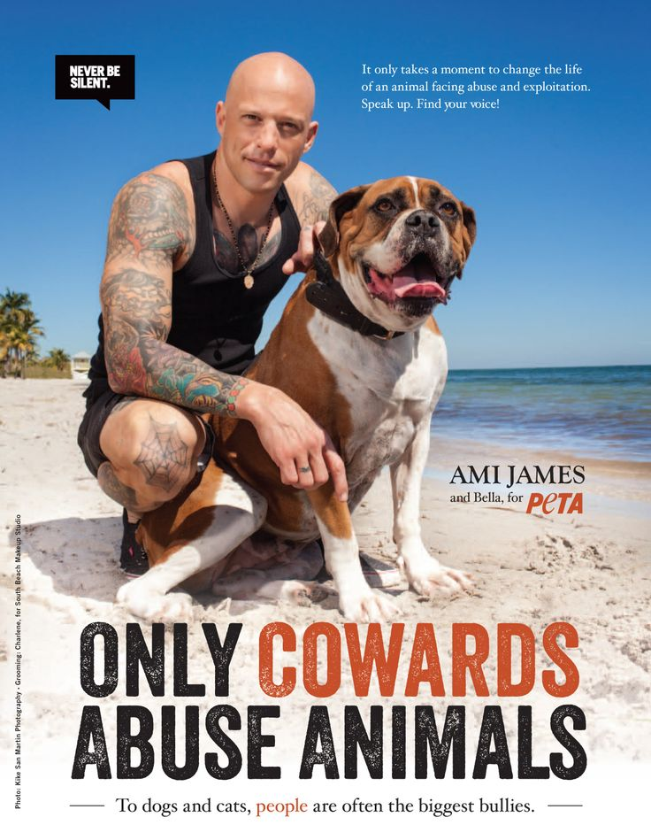 "When it comes to speaking up for animals, tattoo artist and star of NY Ink Ami James will ""never be silent."" He first spoke out against the cruel fur industry by joining PETA's ""Ink, Not Mink"" campaign. Now Ami is teaming up with PETA again, starring in an exclusive behind-the-scenes video and print ad with his adorable dog Bella with a message that's loud and clear: ""Only cowards abuse animals."" http://peta.vg/169 #AmiJames #PETA #celebs #tattoos #animals #animalcruelty #neverbesilent"