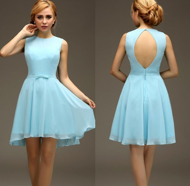 Short High Low Light Blue Sleeveless Chiffon Sexy Open Back Bridesmaids Dresses Simple Baby Blue 8th Grade  Dresses bd9886