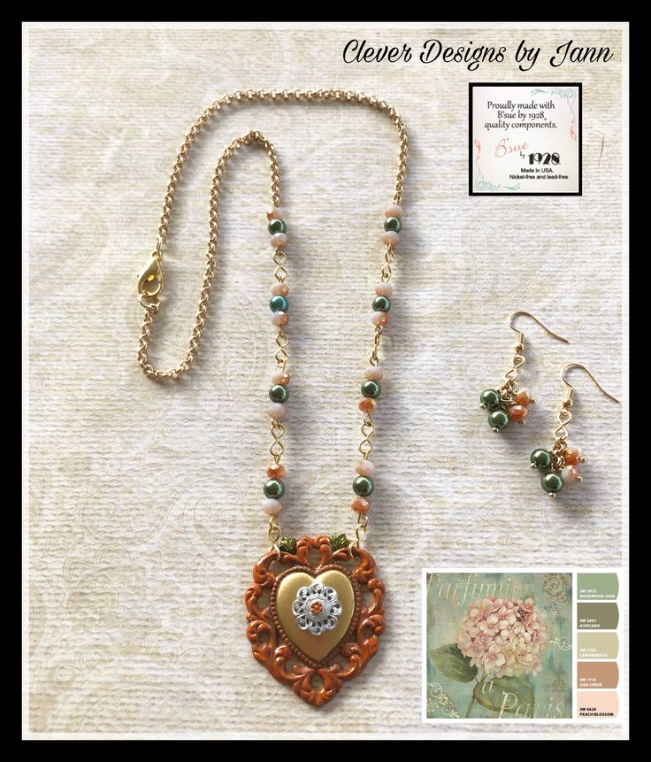 Nov/Dec Challenge .. A B'sue Raw Brass Heart is painted and a Raw Pewter Stamping is attached to the middle of the heart .. Beads used are from the color chart .. Clever Designs by Jann