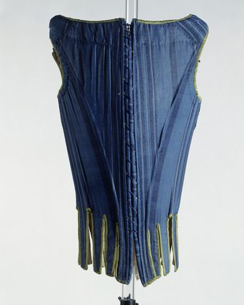 1671-1680 (back view)Wool, silk and linen stays. The decorative silk brocade is used only on the front of the stays, as this portion might be visible through the front opening of the gown. The sides and back of the stays are executed in a less costly blue wool and the lining in linen.