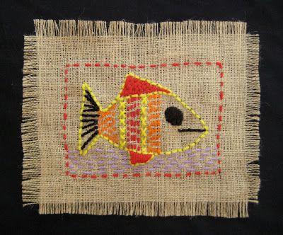 "Burlap ""Sampler"" – Stitching Project   TeachKidsArt"