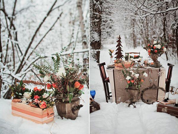 зимняя свадьба декор #wedding #decor #orange #winter
