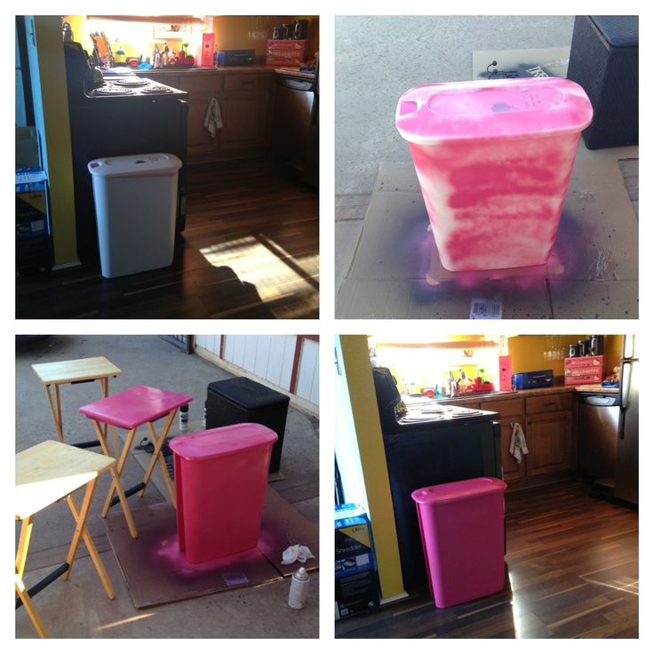 Making My Kitchen Trash Can Cute By Spray Painting And Stenciling It. Beats  Paying For