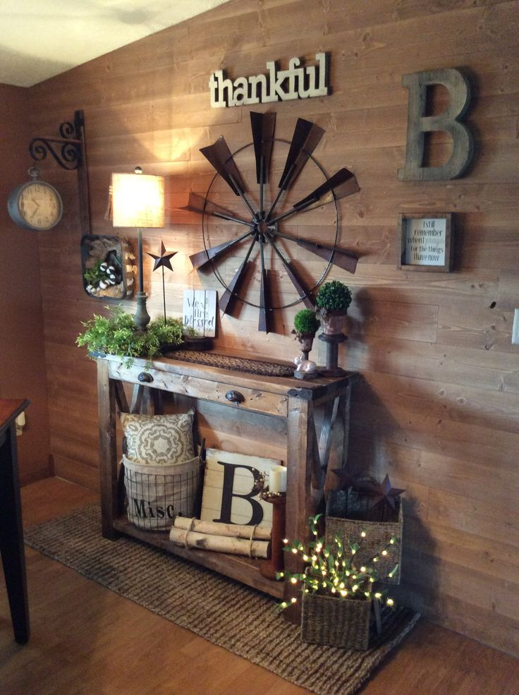 Farmhouse shiplap wall and entry table Home decor in