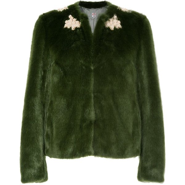 Shrimps Duncan faux fur coat ($965) ❤ liked on Polyvore featuring outerwear, coats, green, green coats, shrimps coat, fake fur coats, imitation fur coats and faux fur coat