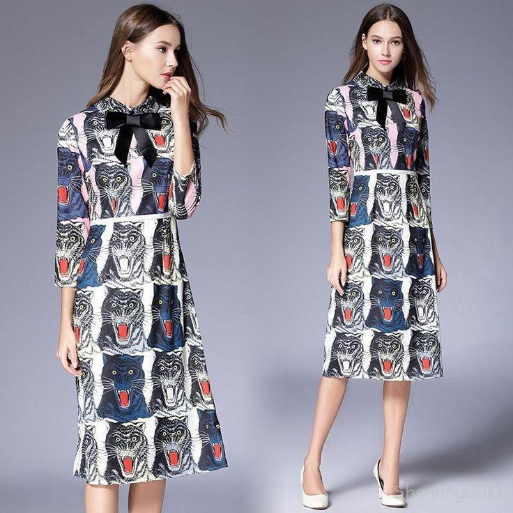 Occident Long Sleeve Dress Autumn/Winter Popular Animal Prints Fashion Top