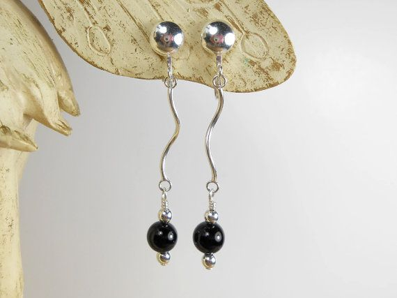 Sterling Silver Clip On Earrings with Black Onyx by ToriaTeeUK