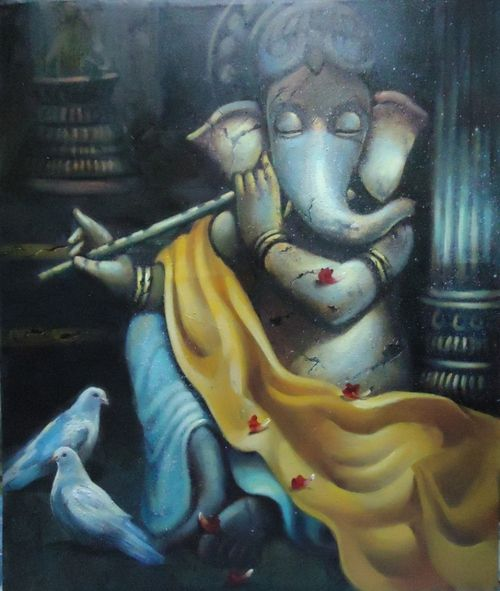 Buy Ganesha Playing Flute by Community Artists Group@ Rs. 44290. Code:ART_WNAT_70_3036 - Shop Art Paintings online in India.