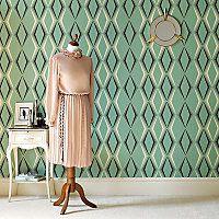 Graham & Brown Hemingway Vintage Deco Diamond Enamel Green Wallpaper