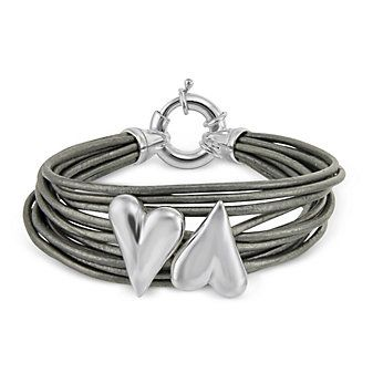 Sterling Silver Two Heart Leather Bracelet from Borsheims. What a thoughtful gift for a mother of two children!