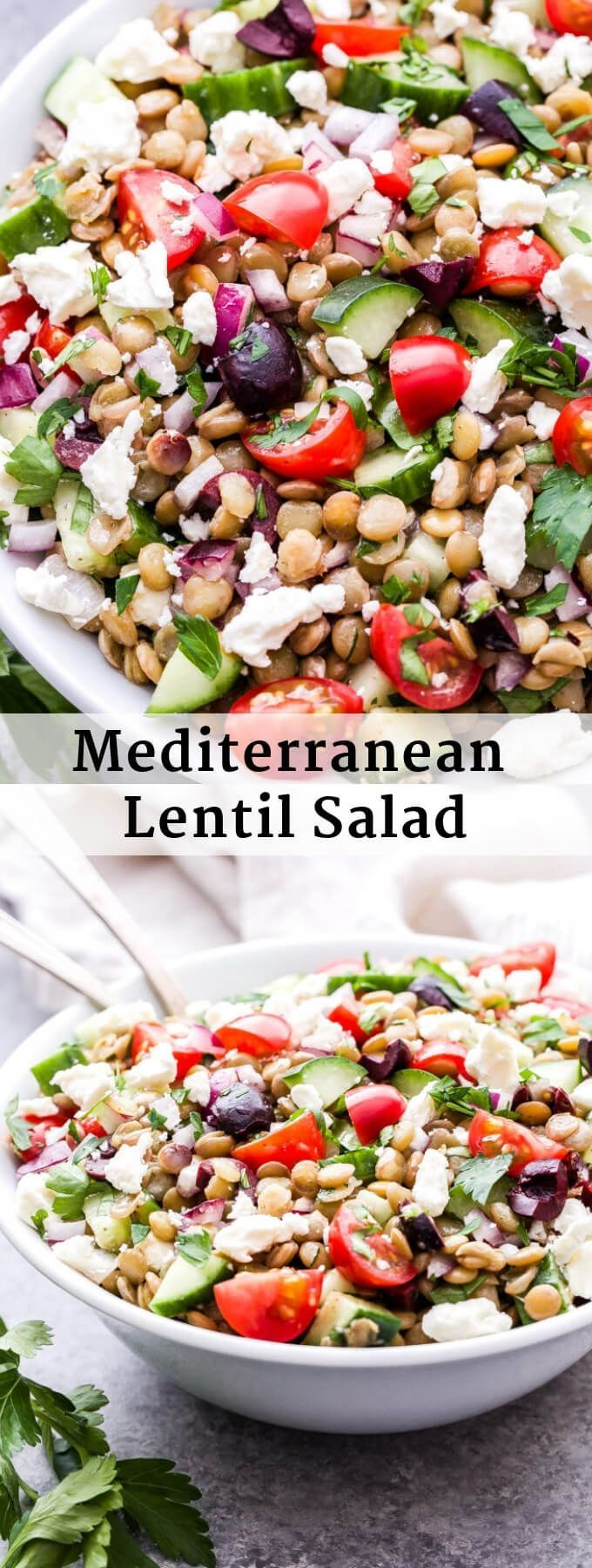This Mediterranean Lentil Salad is a hearty salad that's perfect for lunch, a si…