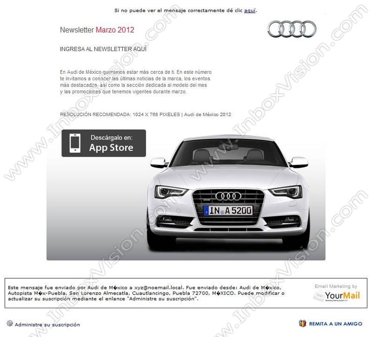 Brand Audi Newsletter Mexico Website Design
