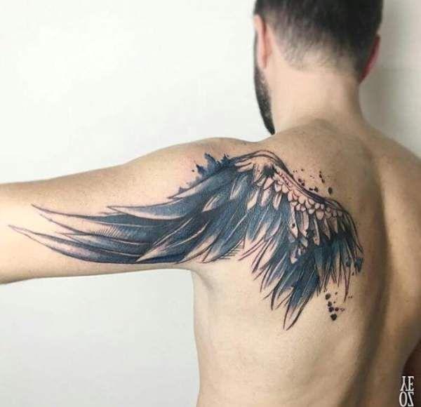 Tatouage homme Ailes d'ange graphique water color sur Dos