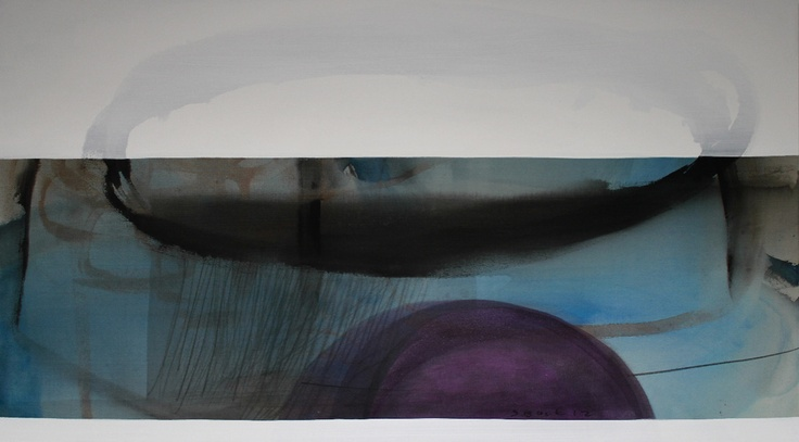 Simon Back Rain Over Sea Mix technique on canvas 100 x 200 cm available at 3A The Excellence of Art