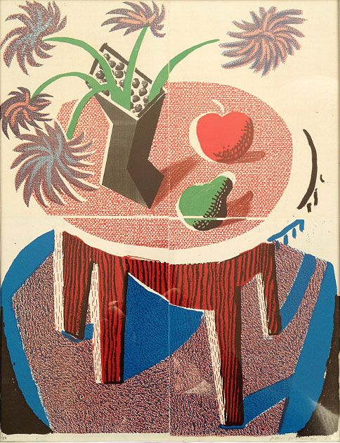 David Hockney, Flowers, Apples and Pear on a Table, homemade print.