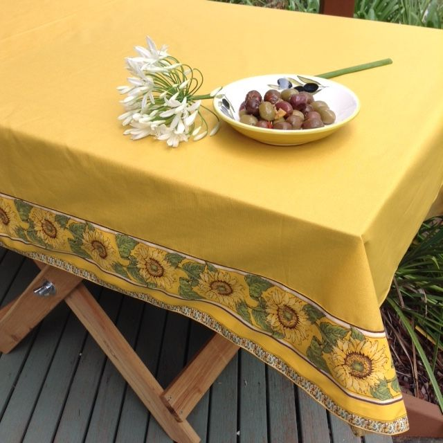 Nola Yellow Acrylic Coated Tablecloth With Two Sunflower Borders. Featuring  Pigeon Artu0027s Medium Olive Bowl