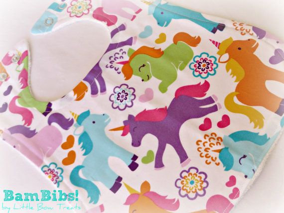 Bamboo Baby Infant Toddler Bib Handmade Quality by LittleBowTreats, $9.50 Unicorns Fantasy Sherbet Colours