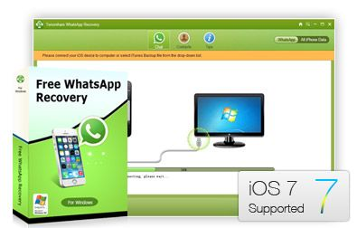 """""""Free WhatsApp Recovery is iPhone, iPad and iPod freeware to recover and extract deleted, lost WhatsApp chat history from iTunes backup and from device directly without backup file: http://www.any-data-recovery.com/product/free-whatsapp-recovery-and-extractor.html"""