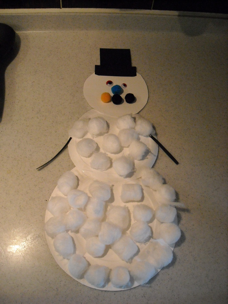 Super easy Kid's craft. Materials needed: paper plates, cotton balls, construction paper, scissors, and a glue stick.   My two year old loved sticking on the cotton balls! (We used googly eyes and pom poms for the face)