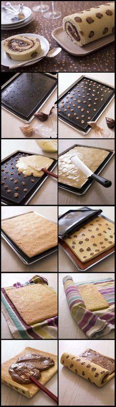 Gâteau roulé imprimé Léopard à la mousse au chocolat praliné - Recettes de…