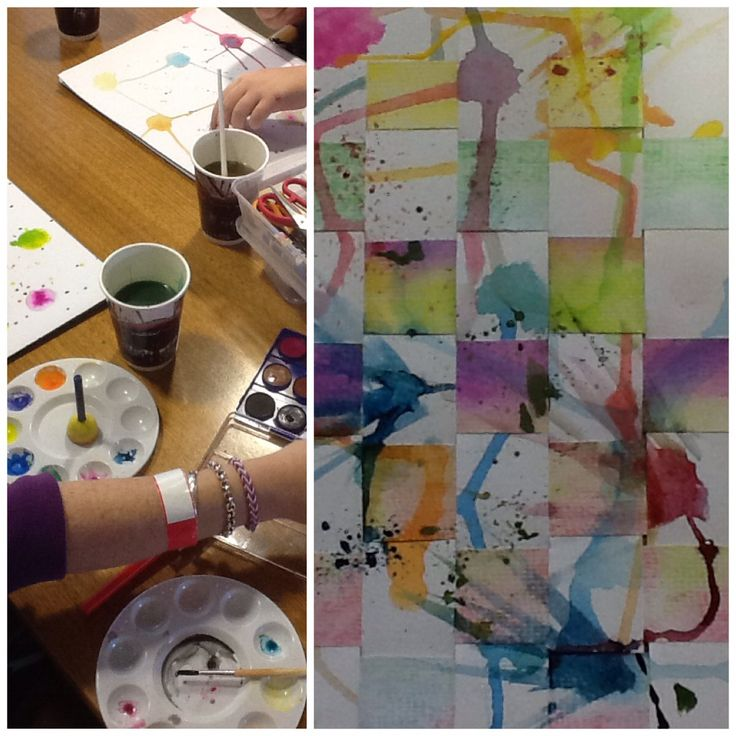 Art therapy activity for clients with perfectionism issues. They were encouraged to create random patterns with watercolour and the develop their pieces further. Example on right was cut into strips, woven and further painted.