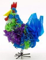 recycled plastic bag animal - chicken