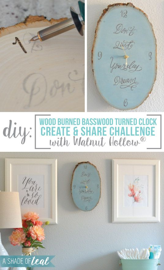 DIY Clock with Basswood + Create & Share Challenge with Walnut Hollow® | A Shade Of Teal #createandsharechallenge
