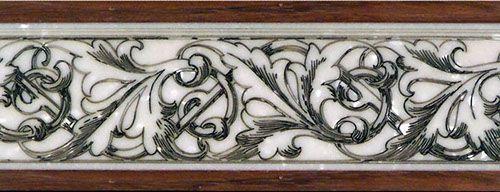 """Roman Vines"".  Mixed media (wood and stone) combination border inlay / cut stone. #floorborder #woodfloorborder #woodfloor #wood #woodworking #woodfloordesign #inlay #intarsia #art #design #floor #floormedallion #functionalart #hardwoodfloor #inlaid #marquetry #pattern #parquet #woodinlay #mixedmedia #stone"